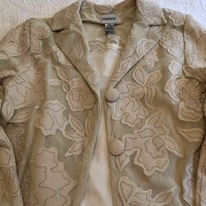 Cream colored lacey looking Jacket